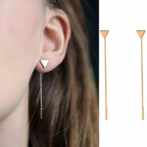 Gold/Silver Triangle Stud Drop Earrings